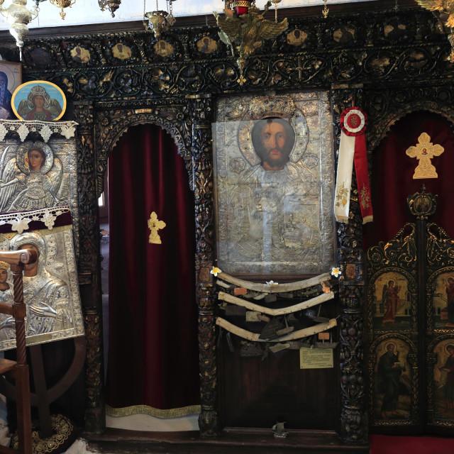 """Shrine in the monastery of Our Lady Pillani, (Panagia Spiliani), Mandraki..."" stock image"