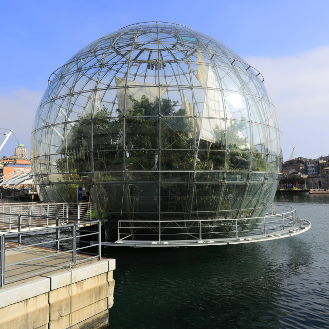 """The Biosphere, Porto Antico, Genoa town, Liguria, Italy, Europe."" stock image"