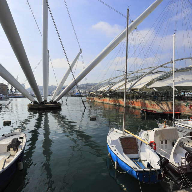 """The Bigo metal structure, designed by Renzo Piano, Porto Antico, Port of..."" stock image"