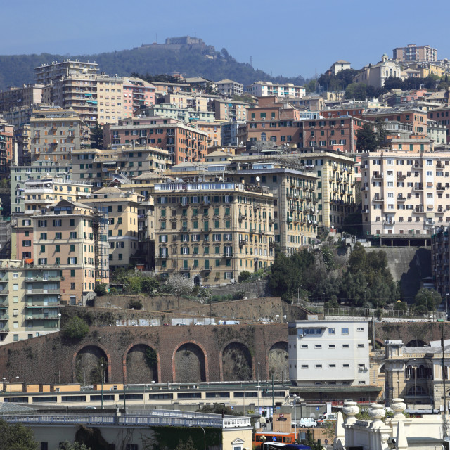 """Houses near the Port of Genoa, Genoa town, Liguria, Italy, Europe."" stock image"
