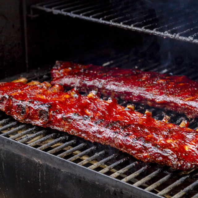 """""""Barbeque racks of ribs with sauce"""" stock image"""