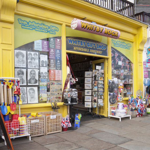 """""""View of the Rock Shop at Whitby in North Yorkshire, with its war"""" stock image"""