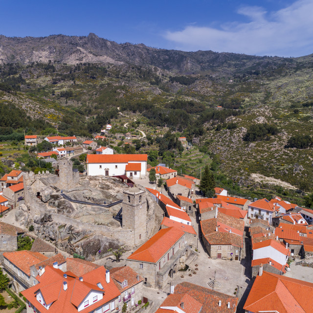 """""""Aerial view of the historic village of Castelo Novo in Portugal; Concept for travel in Portugal"""" stock image"""