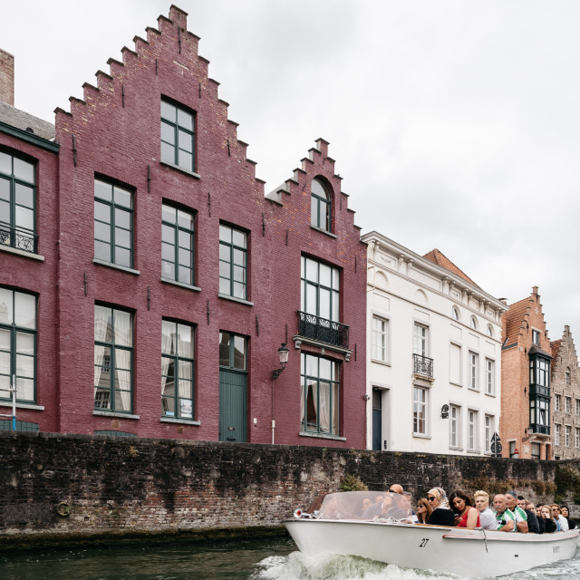 """Canal in the medieval city of Bruges"" stock image"