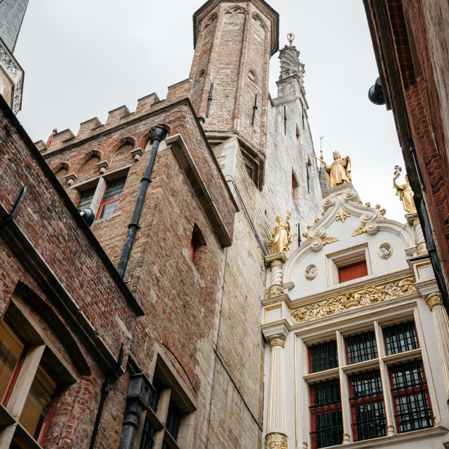 """Low angle view of Town Hall Tower of Bruges"" stock image"