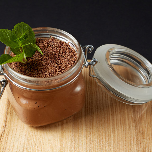 """chocolate mousse with mint in a glass jar"" stock image"
