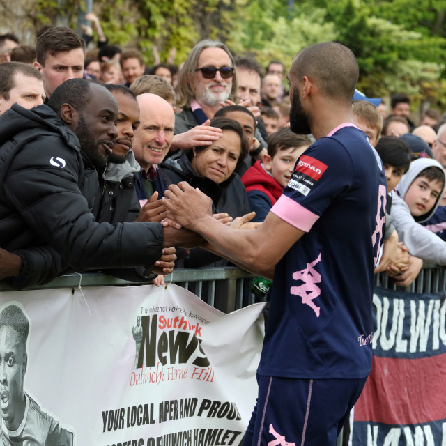 """Ashley Carew greets DHFC supporters"" stock image"