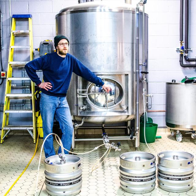 """Kegging at Villages Brewery"" stock image"