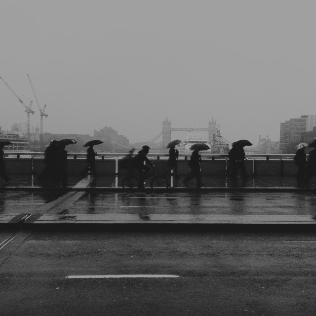 """Umbrellas On London Bridge"" stock image"