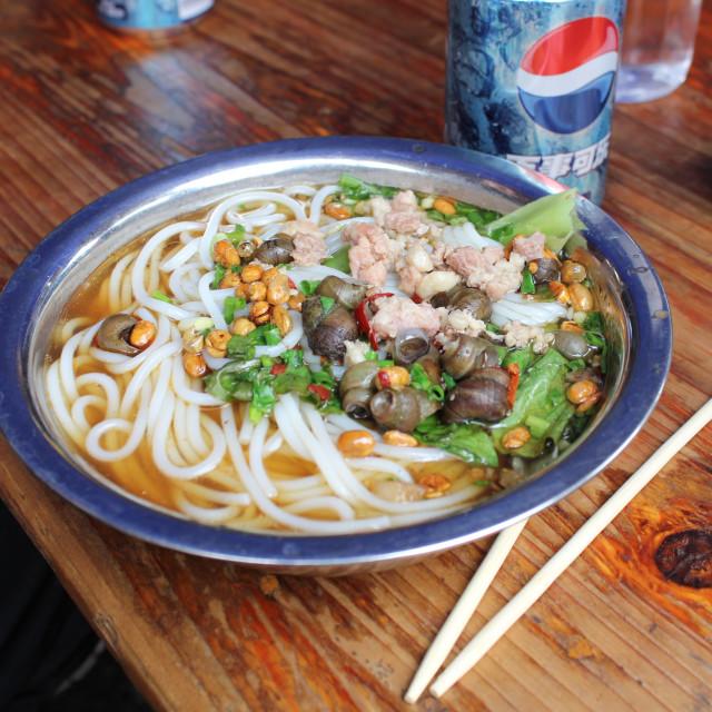 """""""Snail Noodle Soup"""" stock image"""