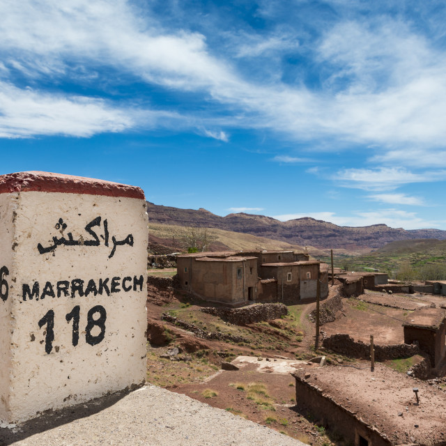 """Road Signd along the road between Marrakesh and Ouarzate in the small town of Inkkal, High Atlas, Morocco; Concept for travel in Morocco"" stock image"