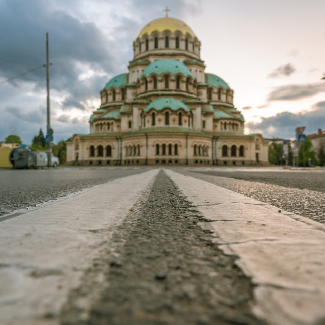 """Alexander Nevsky Cathedral in Sofia in background"" stock image"