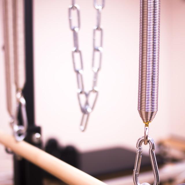 """Pilates machine in gym"" stock image"