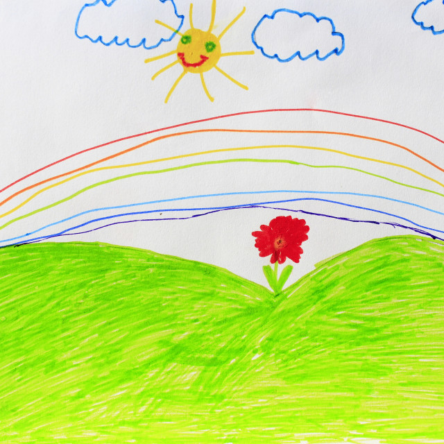 """""""Childish drawing of flowers and rainbow"""" stock image"""