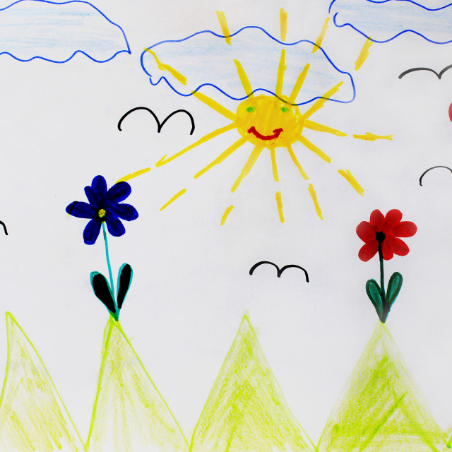 """""""Childish drawing of funny sun flowers and clouds"""" stock image"""