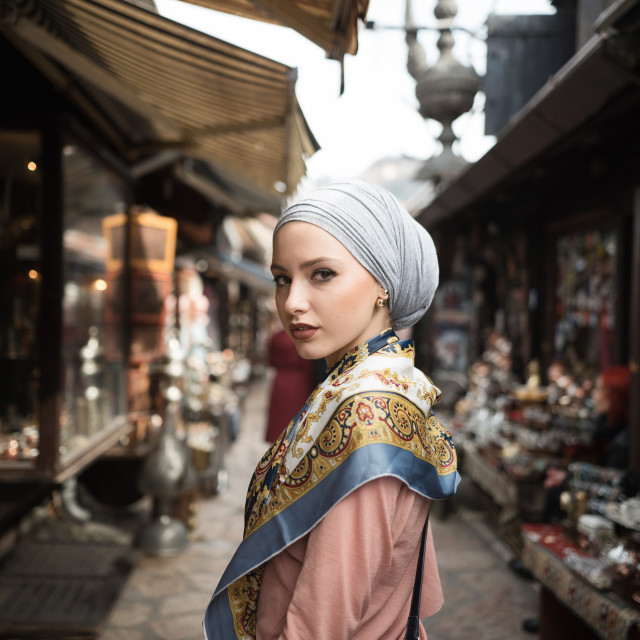 """portrait of young woman wearing hijab"" stock image"