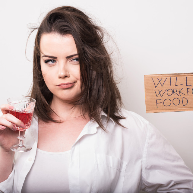 """""""drunk young woman without the hope for work"""" stock image"""