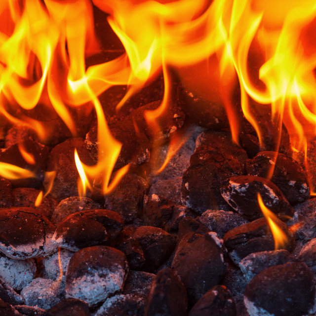 """""""charcoal grill with flames"""" stock image"""