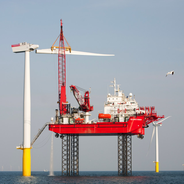 """The Krakken, a jack up barge, that is constructing the wind turbines of the..."" stock image"