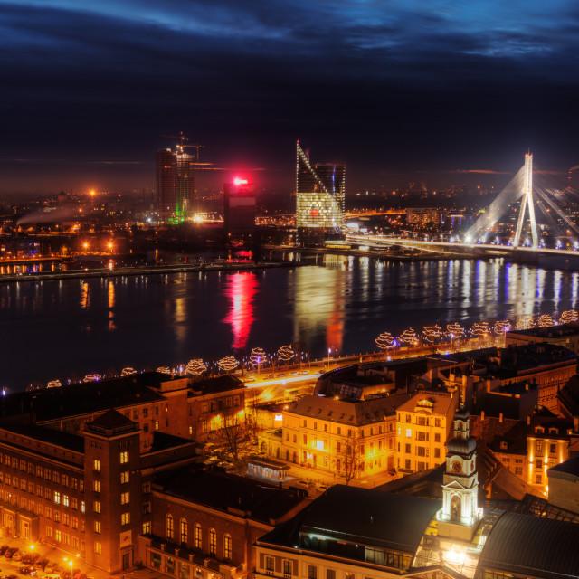 """""""Riga at night"""" stock image"""