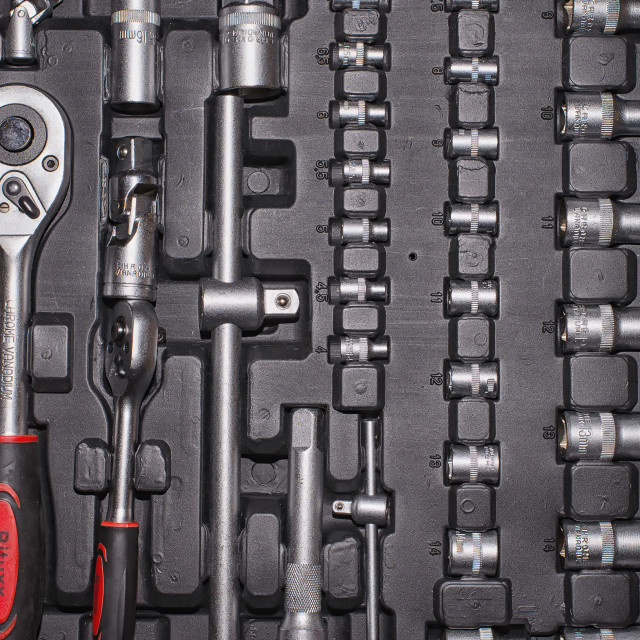 """""""socket wrench set in the Toolbox"""" stock image"""