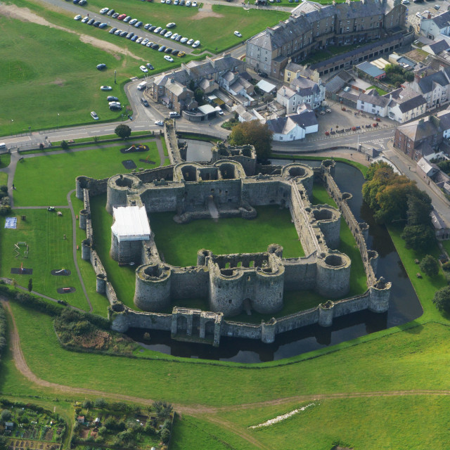 """Beaumaris Castle from the Air"" stock image"