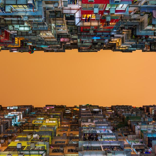 """skyscrapers at night in Hong Kong"" stock image"