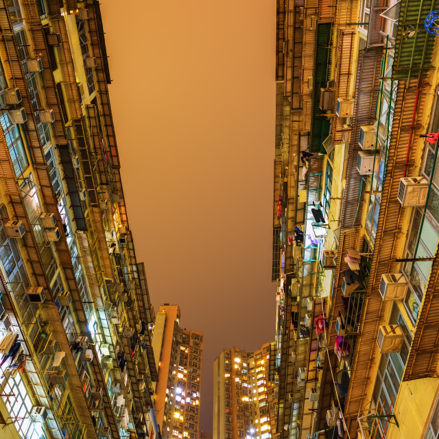 """skyscrapers at night in Hong Kong"" stock image"