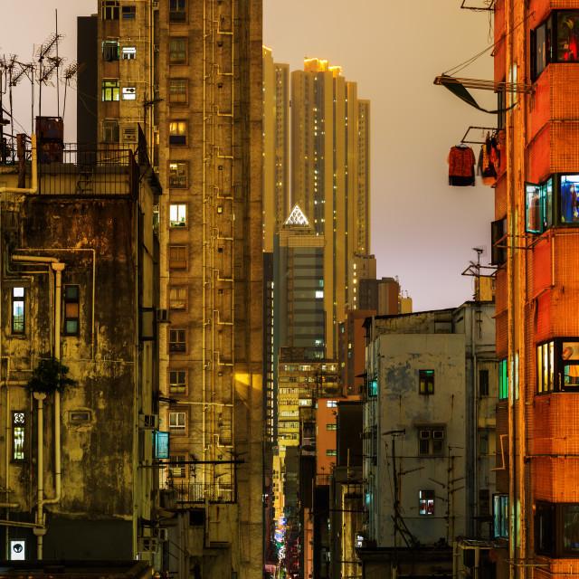 """""""Kowloon, Hong Kong, at night"""" stock image"""