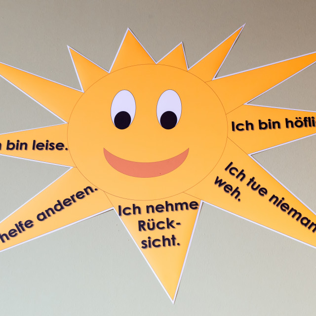 """""""Sun with instructions in German"""" stock image"""