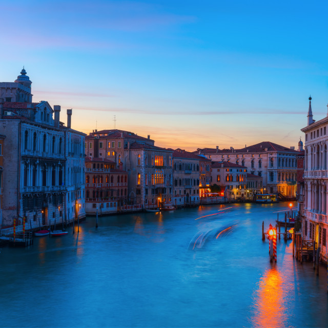 """Grand Canal in Venice, Italy, at night"" stock image"