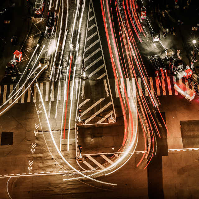 """traffic at night seen from Eiffel Tower"" stock image"
