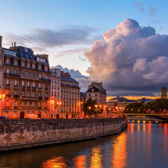 """""""Ile de la Cite in Paris at night"""" stock image"""