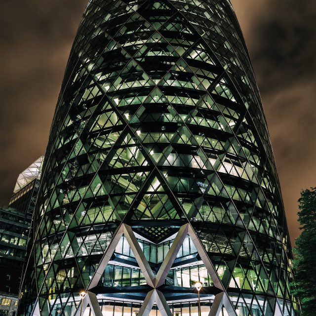 """""""30 St Mary Axe in London at night"""" stock image"""