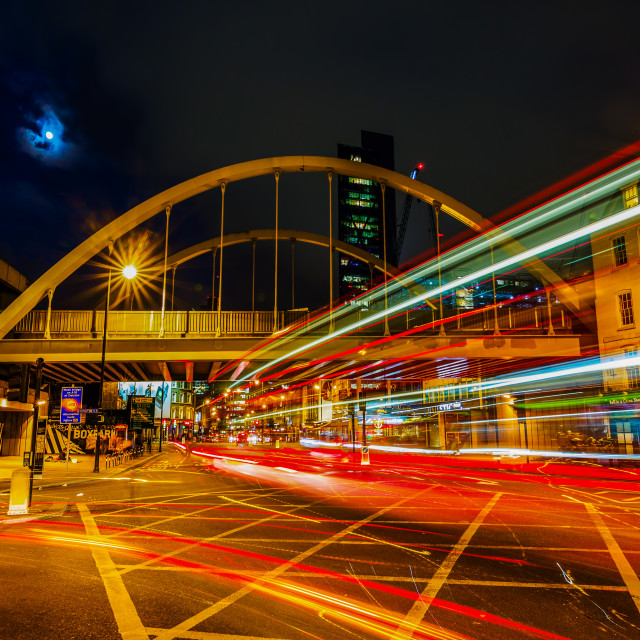 """Shoreditch High Street in London at night"" stock image"