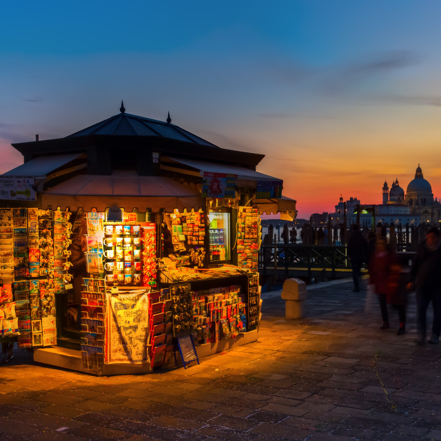 """souvenir stall in Venice at night"" stock image"