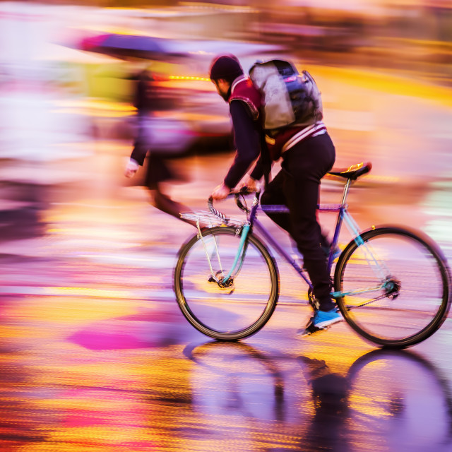 """bicycle rider at night"" stock image"
