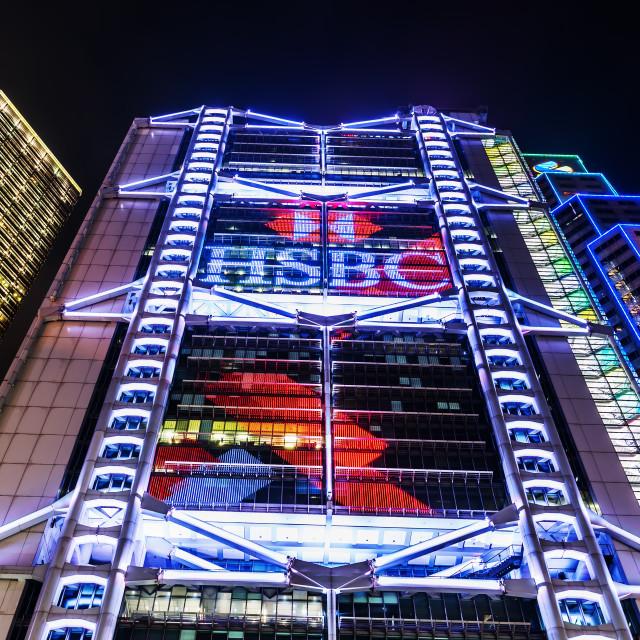 """""""HSBC building in Hong Kong at night"""" stock image"""