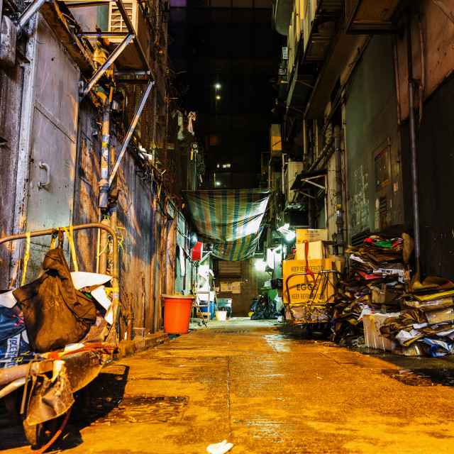 """backstreet in Hong Kong at night"" stock image"