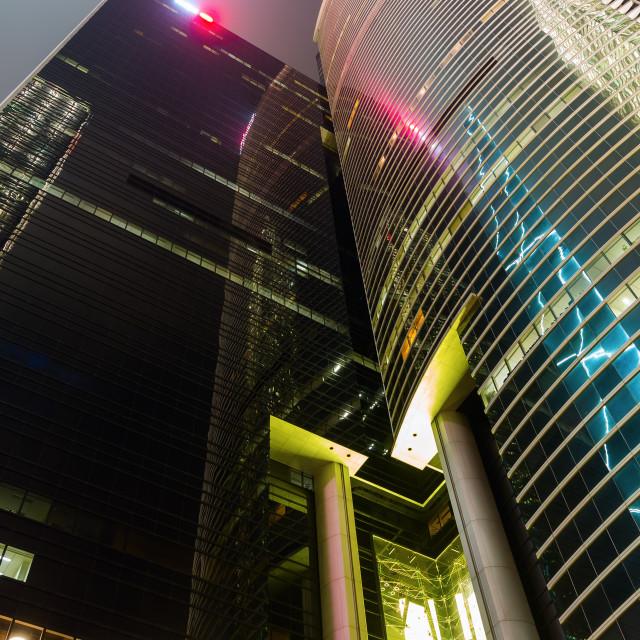 """skyscraper in Hong Kong at night"" stock image"