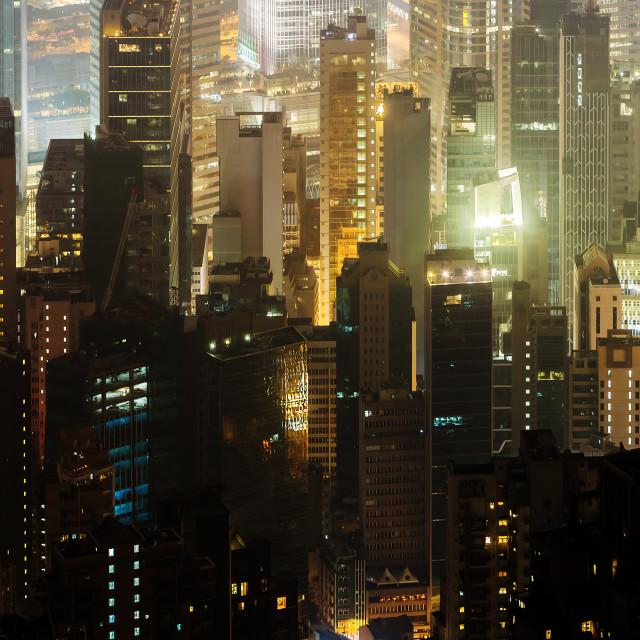"""skyscrapers of Hongkong at night"" stock image"
