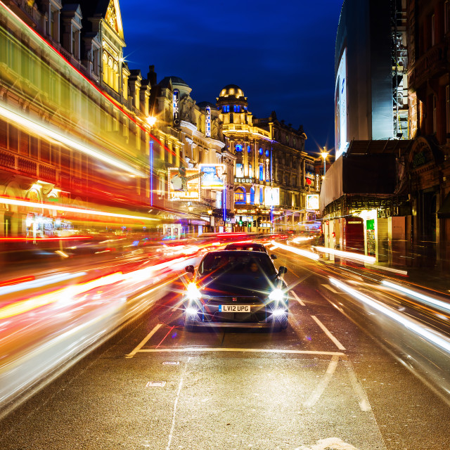 """""""Shaftesbury Avenue in London at night"""" stock image"""