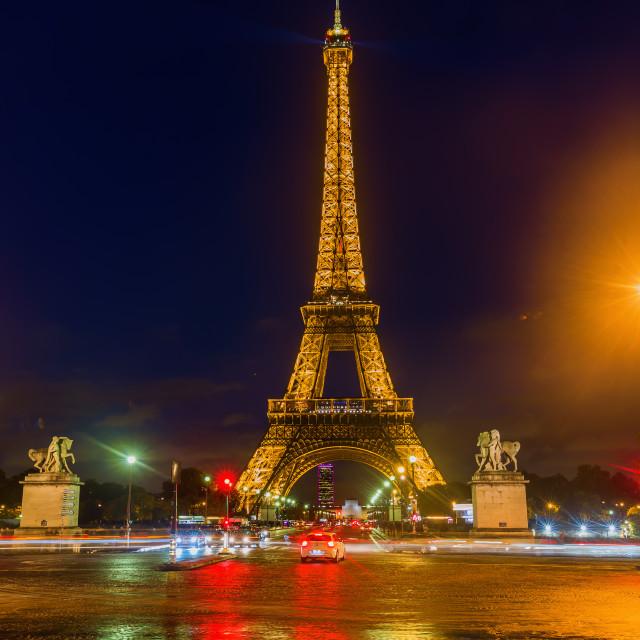 """illuminated Eiffel Tower at night"" stock image"
