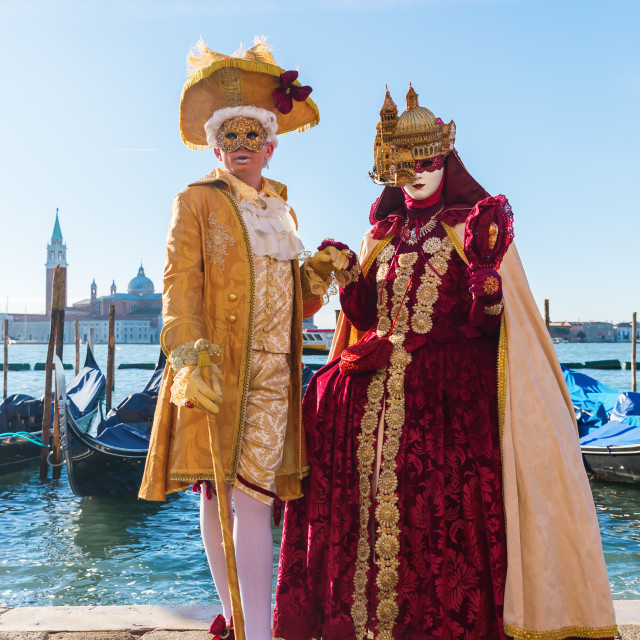 """disguised couple at Carnival of Venice"" stock image"