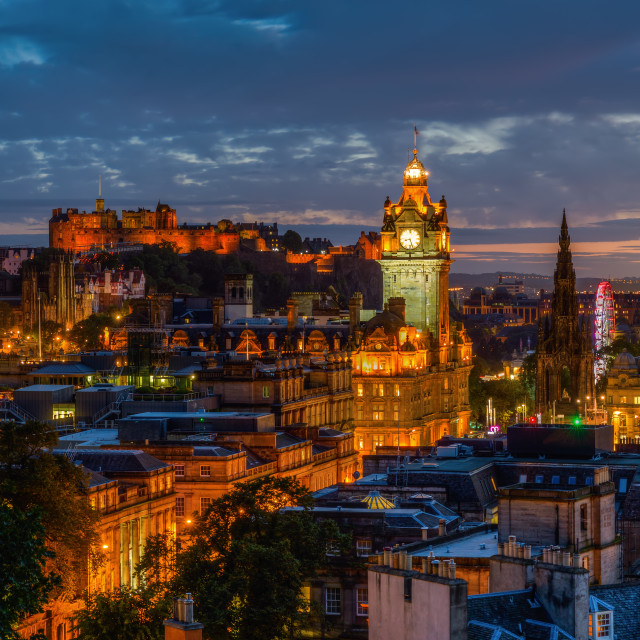 """cityscape of Edinburgh at night"" stock image"
