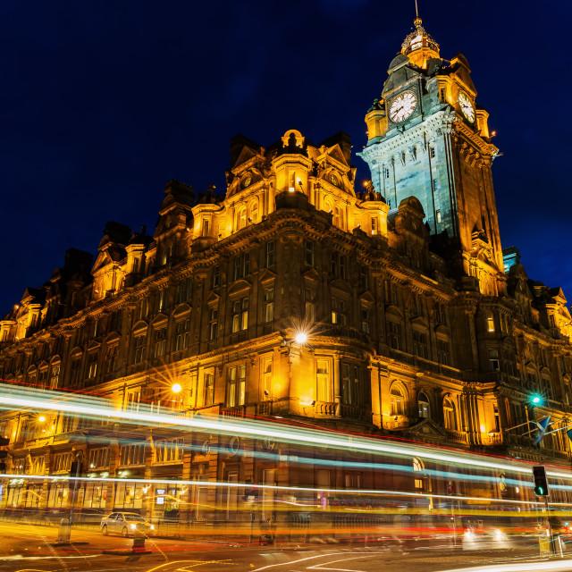 """Balmoral Hotel in Edinburgh at night"" stock image"