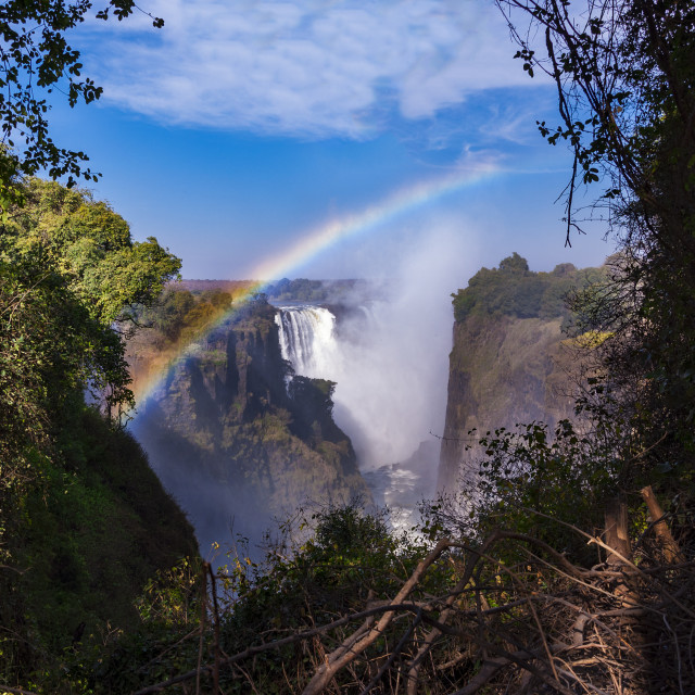 """View of the Victoria Falls with rainbow in Zimbabwe, Africa"" stock image"