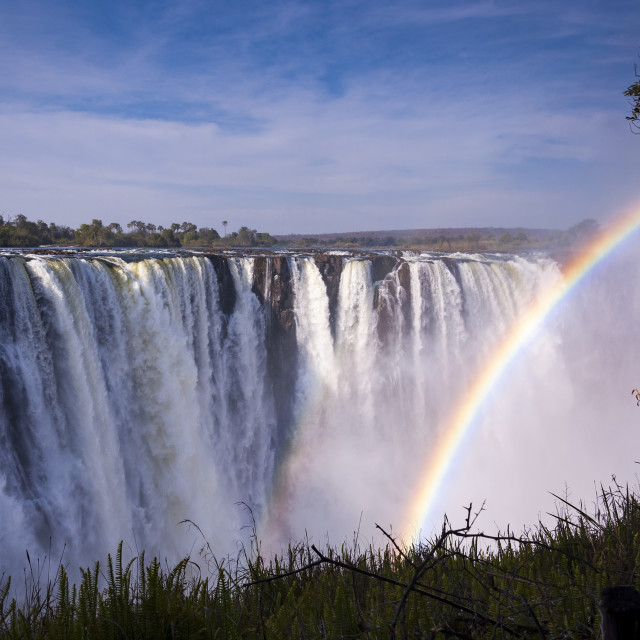 """""""View of the Victoria Falls with rainbow in Zimbabwe, Africa"""" stock image"""