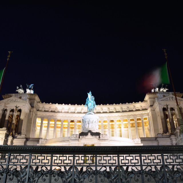 """Monument of Victor Emmanuel, night View in Rome."" stock image"