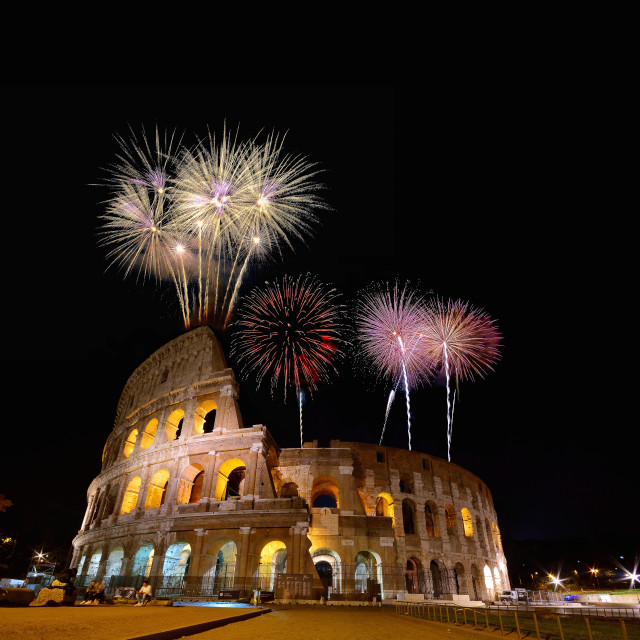 """""""Colosseum illuminated with fireworks in Rome."""" stock image"""